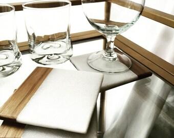 Cararra Marble/Walnut wood coasters