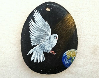 Pendant handpainted Dove, peace, wedding