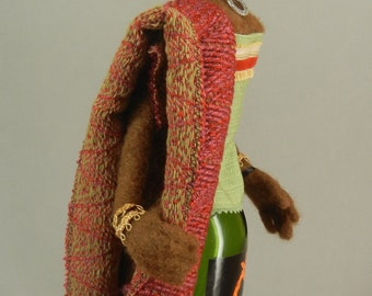 Bottle Doll, Needle Felted, Safari, Art doll