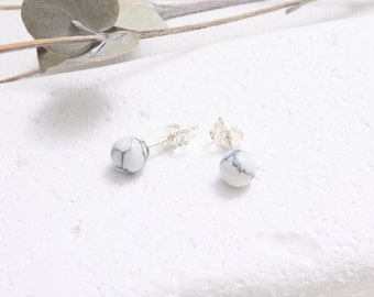 White Howlite 6mm Ball Stud Earrings, White Marble Stud Earrings