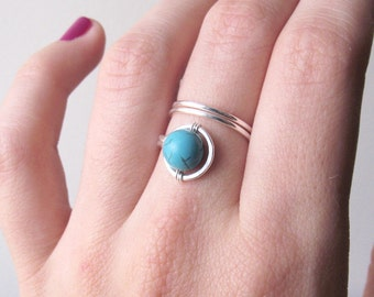 Adjustable Turquoise Silver Wire Wrapped Ring - Hand crafted, stack ring impression, minimalist style band