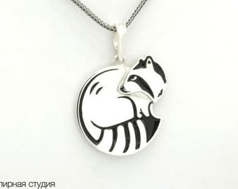 Raccoon pendant - sterling silver, black enamel / Raccoon necklace