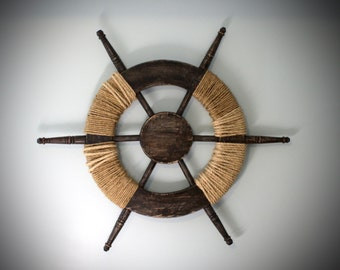 Large Wood Ship Wheel