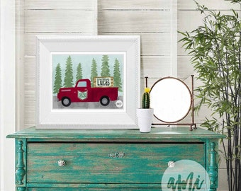Old Timey Truck in the Woods Customized with Name and Truck Color 10x8 and 24x18 Illustration INSTANT DOWNLOAD nursery boys room printable