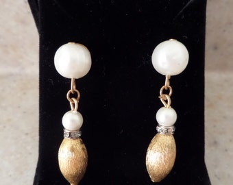 Vintage Pearl and Gold Tone Dangling Earrings - converted to PIERCED