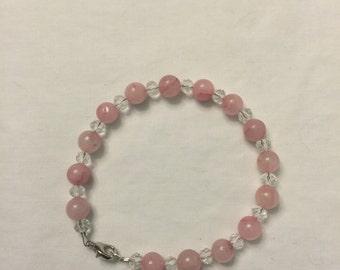Rose quartz Cat Collar. Cat Bling Collar, Czech rondelle crystals