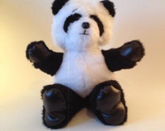 WEEBEE Bear - Handmade Panda Plush in black and white Faux Fur
