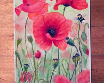 Poppies 1 - Print of Watercolor Painting