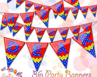 36 Banner Party Flags Wonder Woman Birthday Party Decorations Printable Superhero Alphabet Letters and Numbers Digital Superwoman Name Age