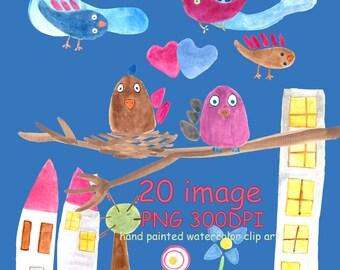 Watercolor kids clipart Cute Birds clipart Floral and heart clipart invitation clipart Cute bird Nursery clipart