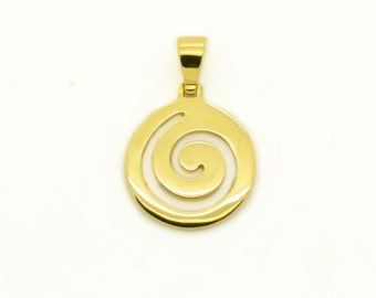 Greek Spiral Pendant, Spiral Gold Pendant, Solid Gold Spiral, Minimal Gold Pendants,  Made In Greece Pendant, Delicate Gold Pendants