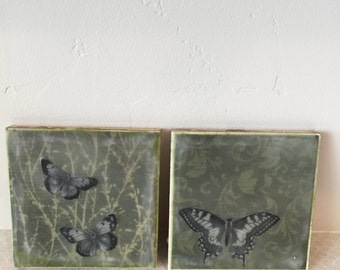 Butterflies In The Forest, encaustic beeswax original painting