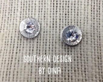 9 mm bullet stud earrings with crystal