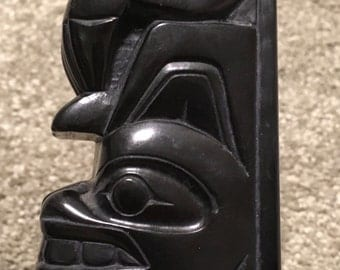 Denny Dixon Reproduction Carved Totem Pole Haida Indian Tribe