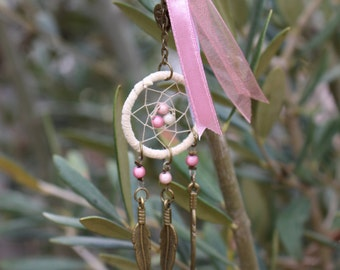 Keychain - mini pink dream catcher