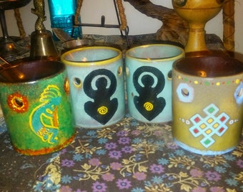 Hand Painted Oil Burners/ Meditation Aids/ Buddhist Endless Knot/ Native American Kokopelli/ Pagan Mother Goddess