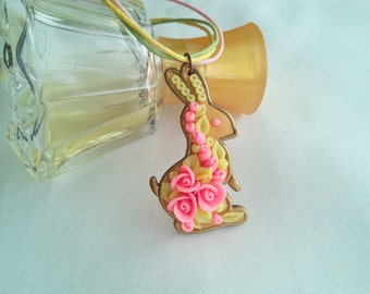 Rabbit necklace Bunny necklace polymer clay Jewelry handmade Bunny pendant Rose jewelry Animal necklace Gift for baby girl