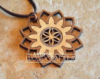 Wooden Flower Necklace (Bamboo/Walnut)