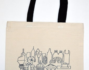 Atlanta tote bag, Southern Tote Bag, Atlanta City Art, Georgia Gift, Southern gift, Georgia Tote bag, southern tote bag, GA bag, GA tote