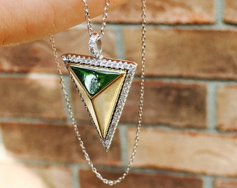 Gold 3D Pyramid Triangle Necklace