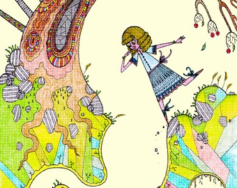 Curious: Signed quirky and stylised illustration / art print of a fairy tale girl. Nursery children's boy's girl's wall decor