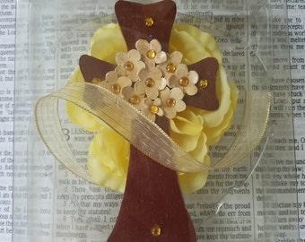 Gold Flowered Cross