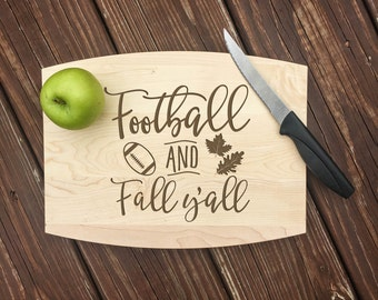 Football, Fall Decor, Fall Decorations, Personalized Cutting Board, Autumn Decor, Fall Gift, Kitchen Decor, Kitchen Signs, Cutting Board
