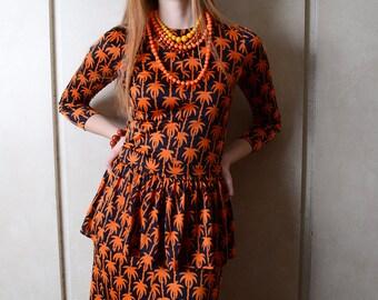 Vintage Diane Von Furstenberg Orange and Black dress