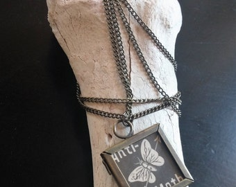 Real Victorian Anti-Moth Ad Pendant Necklace