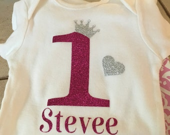 First Birthday Onesie Princess Pink/Gold Pink/Silver