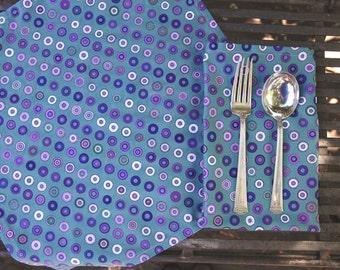 Organic Cotton Napkin Set, Set of 6 | 'Grommets - Lilac' by Ormolu Design | Printed Blue Circles Geometric Table Napkins | Wedding Napkins