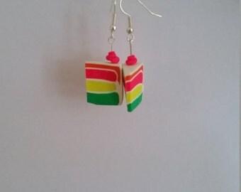 Rainbow cake slice earrings - polymer clay