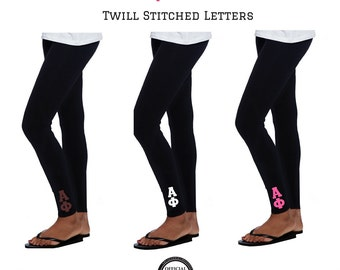 Alpha Phi Leggings . 2 Inch Custom Stitched Twill Letters