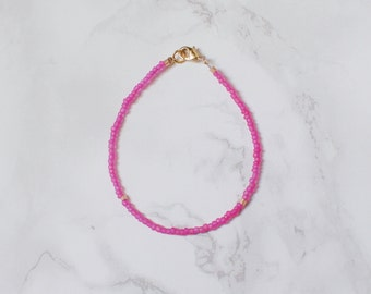 Pink Seed Bead Bracelet with Gold Accents