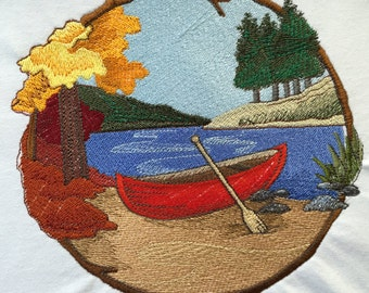 Embroidered Boat on the Shore T-Shirt