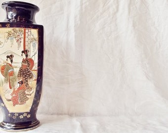 Vintage Navy Blue Oriental Vase