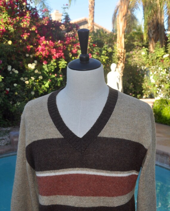 Men's Vintage 80s Puritan Brown Cream and Rust Colored Wool and Polyester V Neck Sweater Sz L