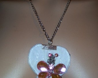 butterfly, rose necklace