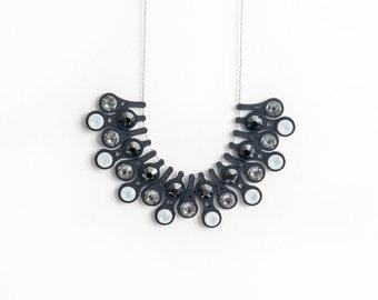 Black Ombre Necklace | Black Gradient Necklace | Dewdrop Necklace in Black