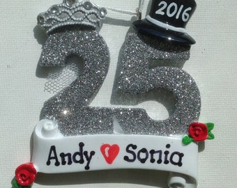 33% Off Personalized 25th Wedding Anniversary, Silver Anniversary Wedding Ornament , Favor