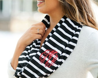 Monogram scarf, infinity scarf, black stripe scarf, personalized gifts, monogrammed gifts, womens gift