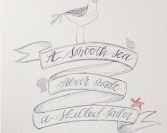 Hand-Painted Watercolor Illustration Quote: A Smooth Sea