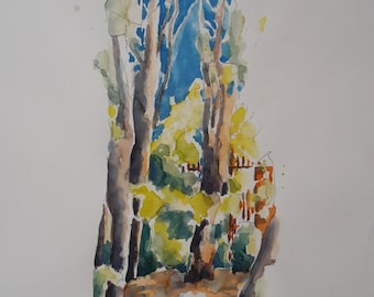 CYPRESS garden Tuscany watercolor 60 x 80 cm