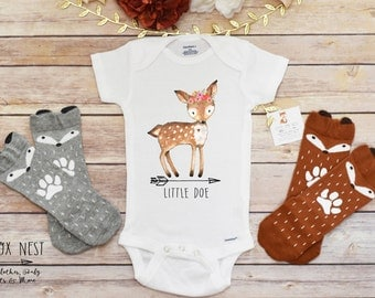 Baby Girl Clothes, Baby Girl Shirt, Little Doe Shirt, Boho Baby Clothes, Cute Baby Onesies