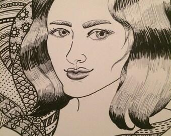 Female Portrait w/pattern 2