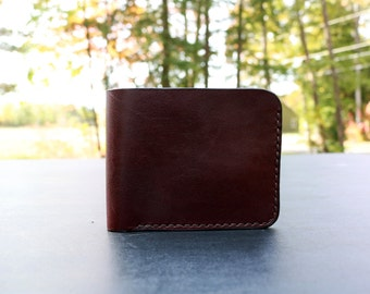 Handmade Men's Leather Bifold Wallet - Burgundy - Maine, Men's Gifts, Stylish Wallet, Hand stitched, Classic, Hand Sewn, Made in Maine