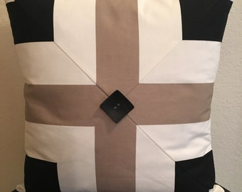 Taupe Cream and Black Cotton Duck Pillow Cover with Large Black Button