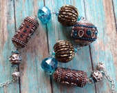 Black Friday Salee - Southwest Boho Beaded Necklace, Brown and Blue Necklace, Southwest Jewelry, Boho Necklace, Southwestern Necklace