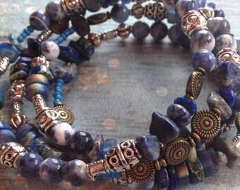 Layered Blue Southwest Boho Bracelet, Stone Boho Bracelet, Southwest Bracelet, Jewelry. Bracelet