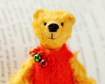Winnie the Pooh - Miniature Collectible Teddy Bear - 3.1 inch - OOAK Handmade Bear - Soft yellow dressed bear